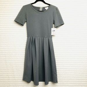 LuLaRoe Amelia Solid Gray Dress Pleated Pockets